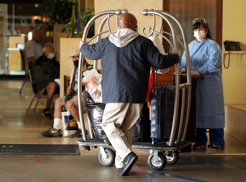 Homeless received in LA hotels