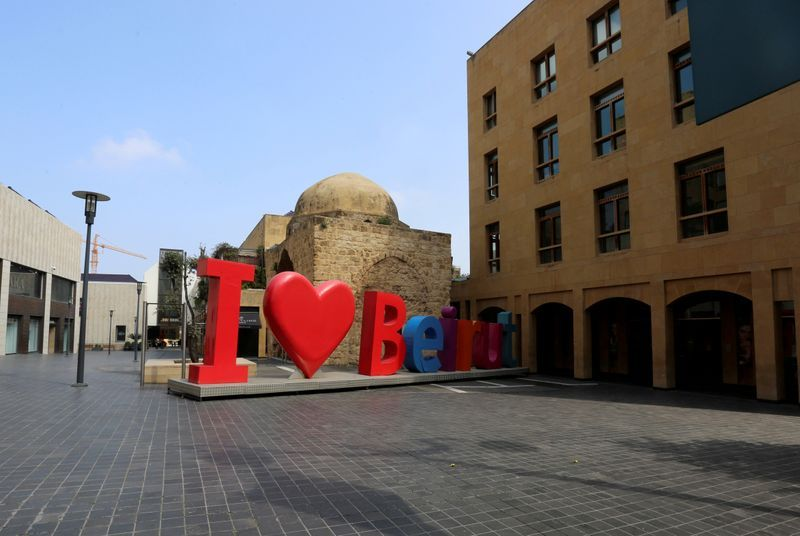 FILE PHOTO: A Beirut sign is seen in an empty Beirut Souks after Lebanon declared a medical state of emergency on Sunday as part of the preventive measures against the spread of coronavirus, in downtown Beirut, Lebanon, March 16, 2020. REUTERS/Aziz Taher/File Photo