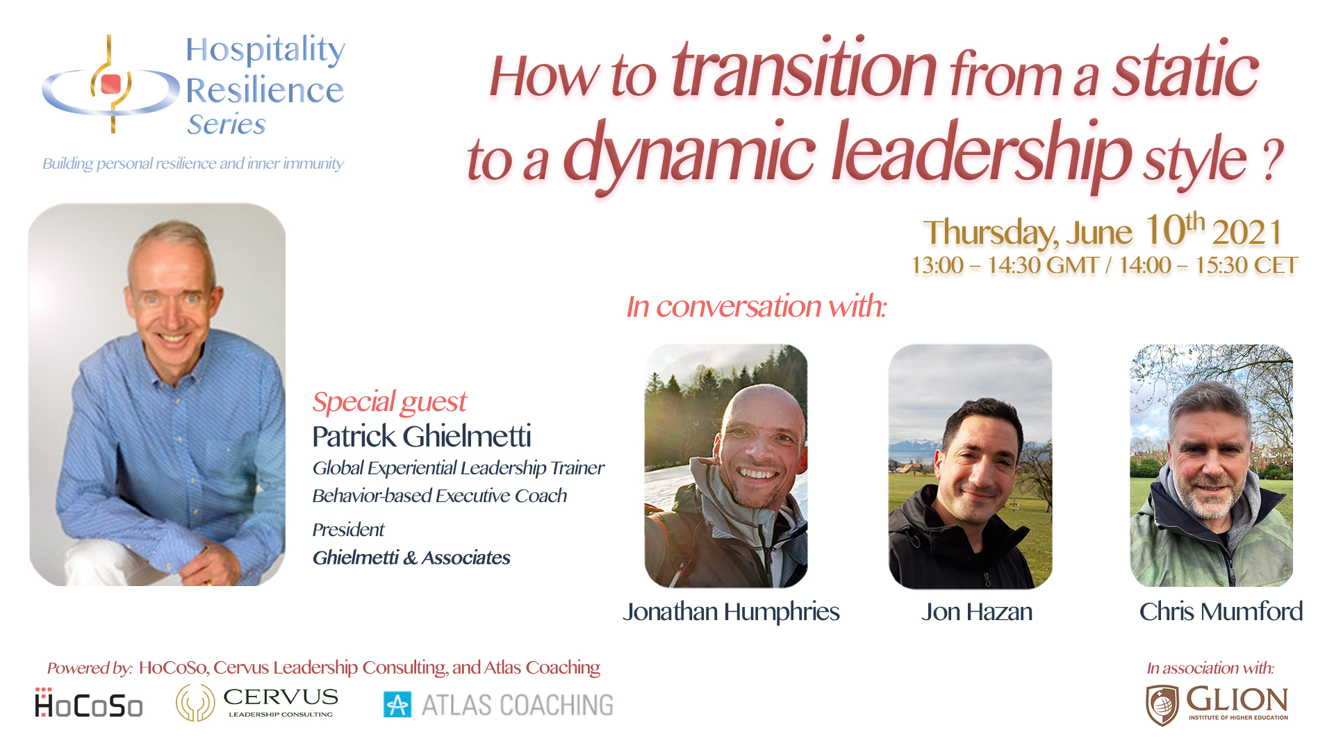 How to transition from a dynamic to a dynamic leadership style with Patrick Ghielmetti for the Hospitality Resilience Series