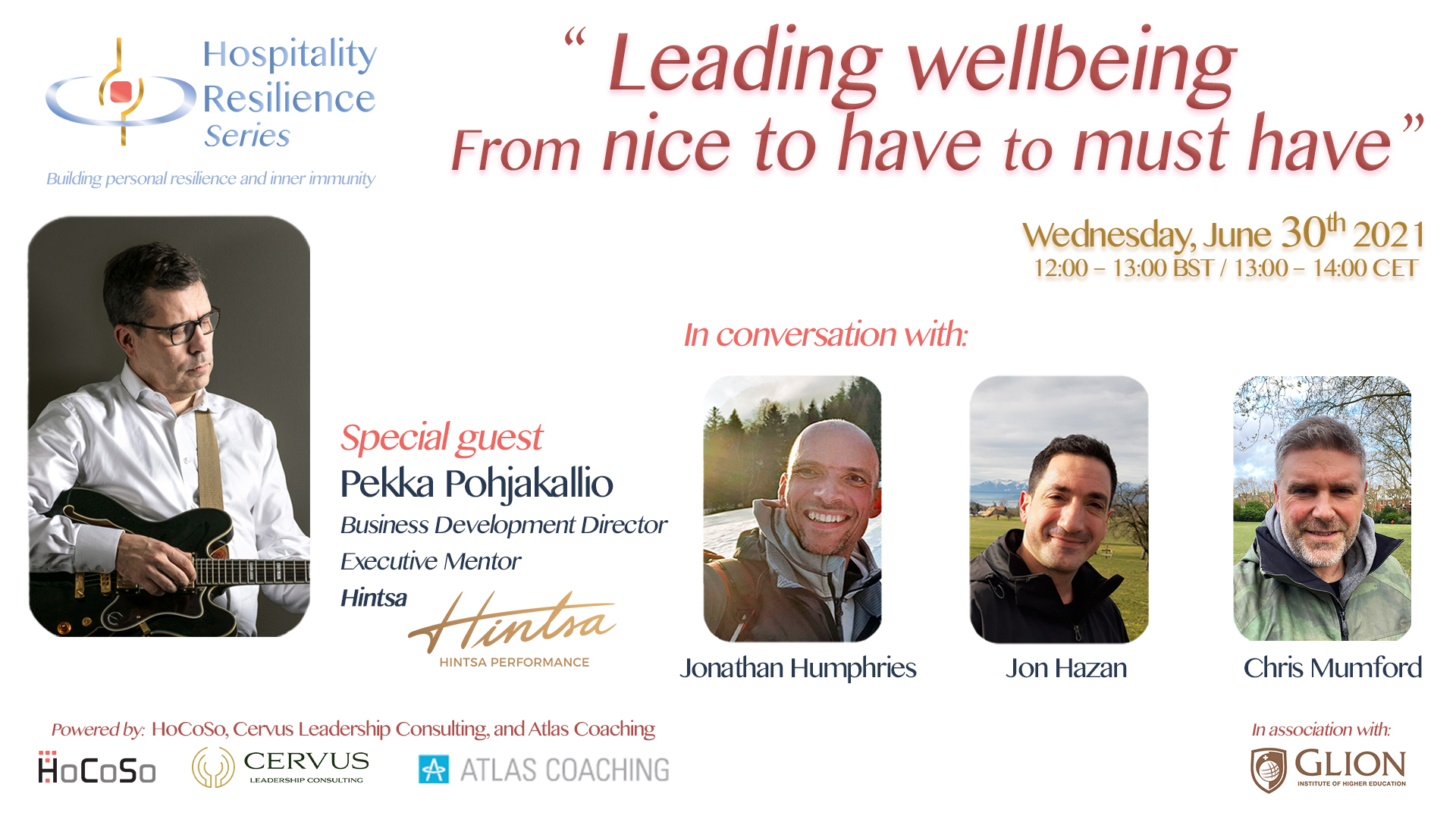 Leading Wellbeing - From nice to have to must have - Pekka Pohjakallio for the Hospitality Resilience Series